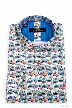 CAMISA DE HOMBRE MANGA LARGA URBAN SLIM FIT CON ESTAMPADO DE COCHES CLÁSICOS MULTICOLOR