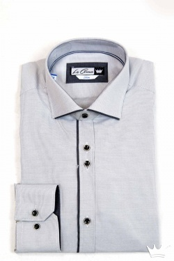 CAMISA MANGA LARGA DE HOMBRE PARA VESTIR SLIM FIT CON MINI CUADRITOS EN COLOR GRIS