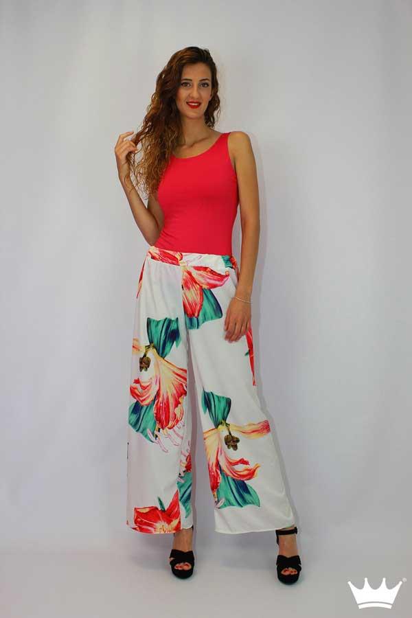 Maxi Palazzo Estampado Con Pantalon Largo Flores De Mujer Urban 4A5qRj3L